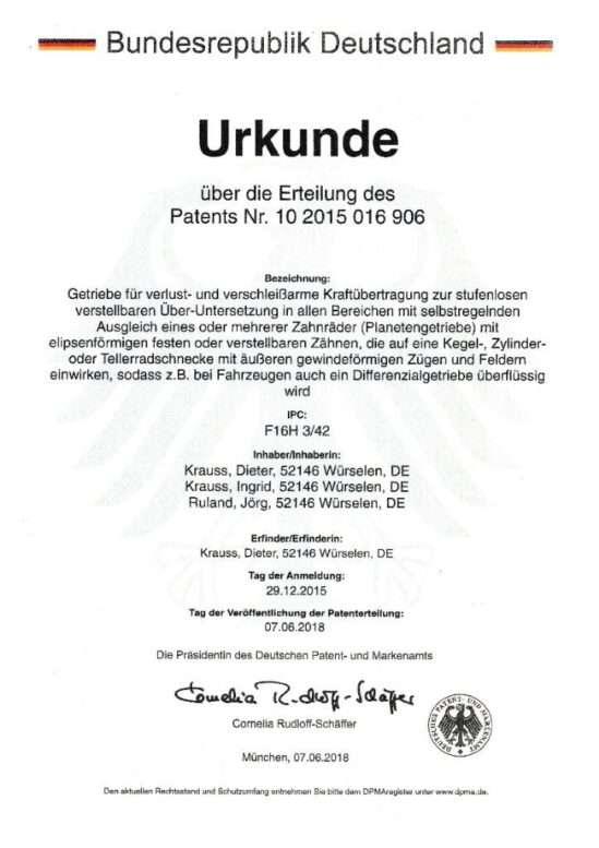 Getriebe Patent zu Verkaufen